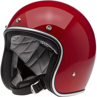 Biltwell Bonanza 3/4 DOT-Approved Motorcycle Helmet in Gloss Blood Red - Left Overview