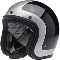 Biltwell Bonanza LE Tracker DOT Motorcycle Helmet in Gloss Black with Silver trim - Left Overview
