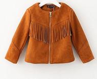 Girls Faux Suede Fringe Jacket (10, Brown