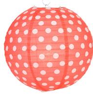 """Red Polka Dot Lantern - 14"""" - Set of 2"""