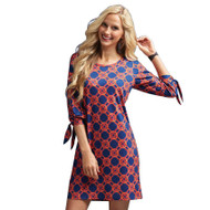 Mud Pie Anderson Navy/Red Lattice Dress - Medium