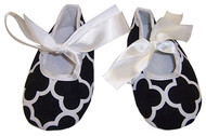 Black Quaterfoil Tie Crib Shoes - 6-9 months