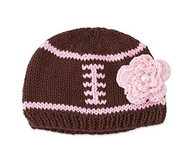 Baby Girls Knit Football Hat with Flower