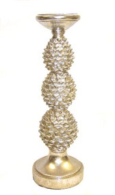"14"" Silver Pinecone Pillar Candle Holder"