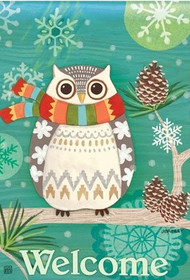 Winter Owl Garden Flag