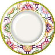 Ideal Home Range 8 Count Boston International Round Paper Dinner Plates, Pink Colorful Tile