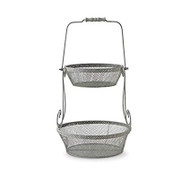24.5 Inch Grey Metal Mesh 2 Tiered Holder with Handle