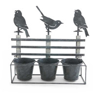 Birds on a Fence Shelf Holding 3 Pots
