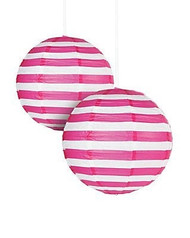 """Hot Pink Striped Paper Lantern - 12"""" - Set of 2"""
