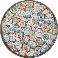 Rock Paper Flower Ski Patches Round Tray