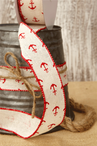 Canvas Ribbon Cream with Red Anchors 1.5in