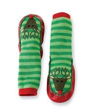 Mud Pie Baby Reindeer Striped Sock Slippers, Green, 9-12 Months