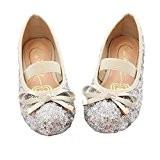 Little Girls Sequin Ballet Flats (Silver, 12) 1