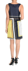 Ladies Navy & Yellow Color Block Print Shift Dress