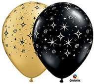 "11"" Black & Gold Sparkles Latex Balloons - Set of 6"