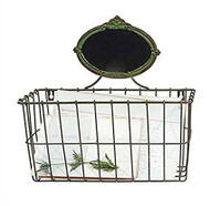Oval Metal Basket with Chalkboard