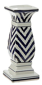 "10"" Blue Chevron Candle Holder"