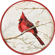"Rock Paper Flower Cardinal 18"" Round Tray"