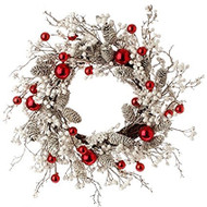 24 Inch Pinecone Berry Ball Wreath