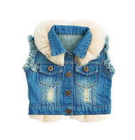 Baby Girls Blue Jean Vest with Tulle (18-24 months)