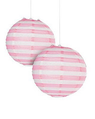 "Light Pink Striped Paper Lantern - 12"" - Set of 2"