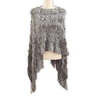 Gray Knit Faux Fur Cape