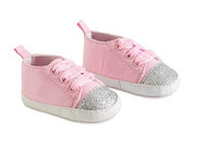 Baby Girls Glitter Infant Crib Shoes Pink & Silver, 0-6 months