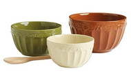Harvest Acorn Ceramic Mixing Bowls Set of 3