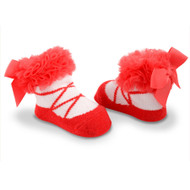 Baby Girl Red Knit Ballet Booties