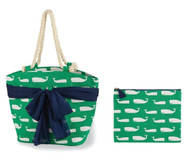 Mud Pie Beachcomber Sarong Along Whale Tote & Zip Bag
