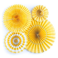 Yellow Paper Rosettes Party Fans