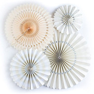 Ivory Paper Rosettes Party Fans