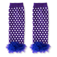 Baby Girls Dark Purple & White Leg Warmers with Chiffon Ankles