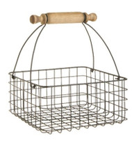 "11"" Wire Basket with Rolling Pin Handle"