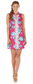 Mud Pie Mia Womans Pink Embroidered Dress, X-Small