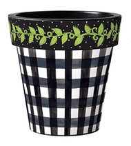 "Black Gingham 18"" Art Pot Planter"