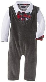 Mud Pie Baby-Boys Newborn Vest One Piece, Gray, 9-12 Months