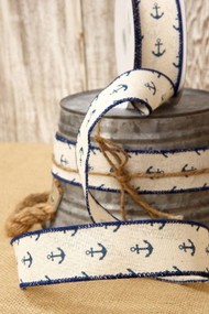 Canvas Ribbon Cream with Blue Anchors 2.5 in