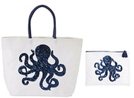 Octopus Beach Tote with Matching Zipper Bag