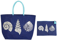 Shells Beach Tote with Matching Zipper Bag
