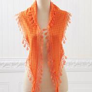Orange Lace Scarf with Fringe