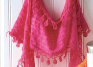 Pink Lace Scarf with Fringe