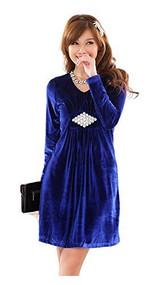 Womans Wine Blue Velour Dress, Large, #9821