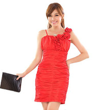 Womans One Shoulder Red Evening Dress, Small