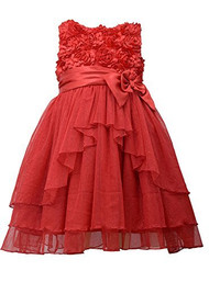 Toddler Girls Red Tiered Sparkle Dress