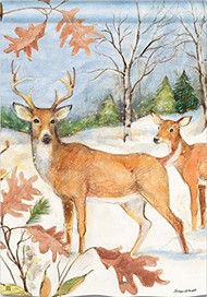 Studio M Winter Deer House Flag