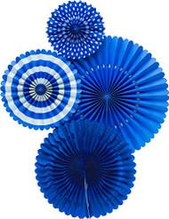Basic Cobalt Blue Paper Rosettes Party Fans