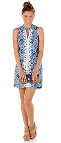 Mia Blue Embroidered Womans Dress, X-Small
