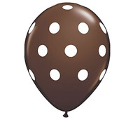 "11"" Brown & White Polka Dot Latex Balloon - Set of 6"