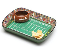 Ceramic Football Stadium Chip and Dip Set with Football Dip Bowl